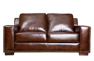 Abbyson Beverly Hand Rubbed Leather Sofa
